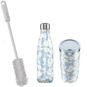 CHILLYs Trinkflasche + Becher Set Floral Daisy + SCHARFsinnig Flaschenbürste – Bild 1