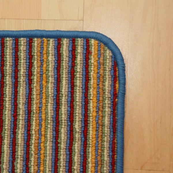 Schlingen Teppich gestreift mit blauer Umkettelung  Bild 2
