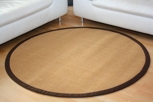 Teppich rund 300 cm  Sisalteppich Manaus Natur mit Stoffbordüre #066 Teppiche Sisal ...