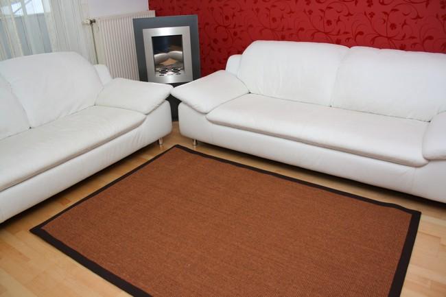 Sisal Teppich Manaus Braun mit Stoffbordüre #065