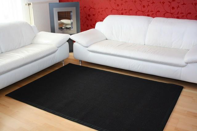 Sisal Teppich Manaus Schwarz mit Stoffbordüre #040