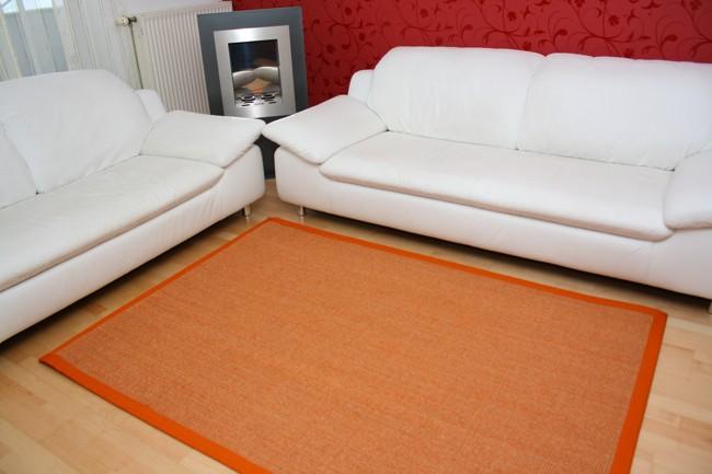 Sisalteppich Manaus Orange mit Stoffbordüre #061
