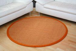 Sisal Teppich Manaus Fleckschutz | Orange mit Stoffbordüre #061  Bild 3