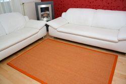 Sisal Teppich Manaus Fleckschutz | Orange mit Stoffbordüre #061