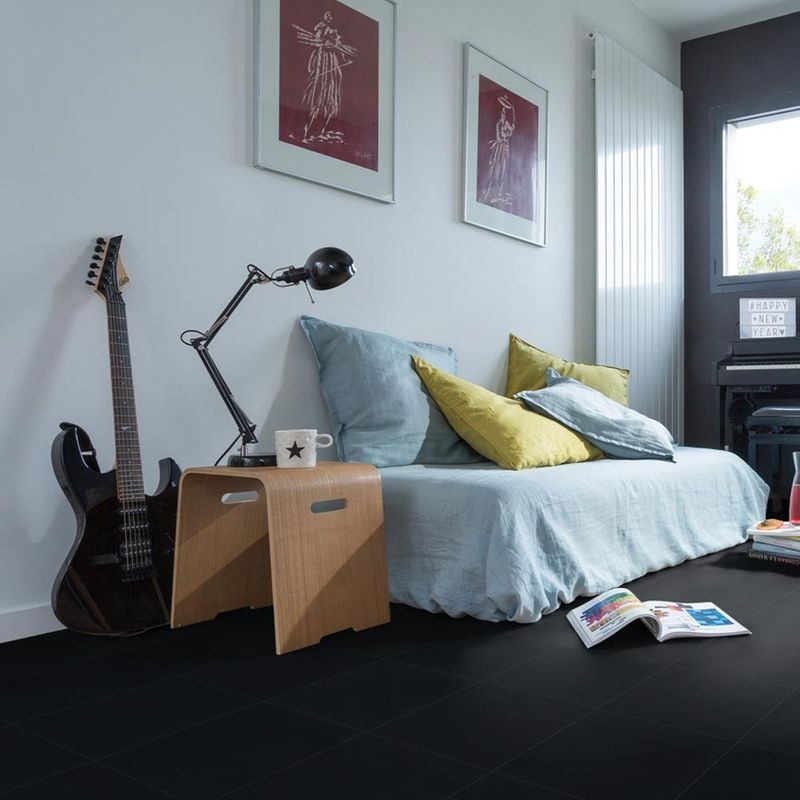 Vinyl Fliese Design 0221 Black Tile Designbeispiel 2