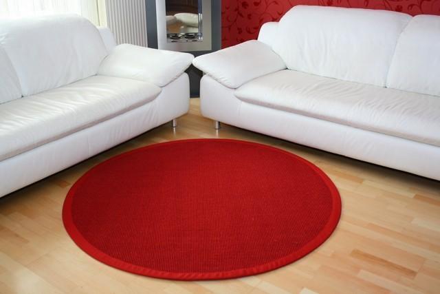 Sisalteppich Manaus Rot mit Stoffbordüre #011 | 300 cm rund | 2. Wahl Bild 1