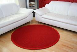 Sisalteppich Manaus Rot mit Stoffbordüre #011 | 350 cm rund | 2. Wahl
