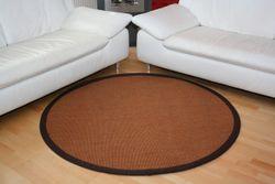 Sisalteppich Manaus Braun mit Stoffbordüre #065 | 300 cm rund | 2. Wahl