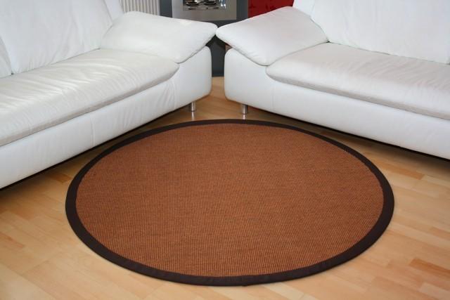Sisalteppich Manaus Braun mit Stoffbordüre #065 | 350 cm rund | 2. Wahl