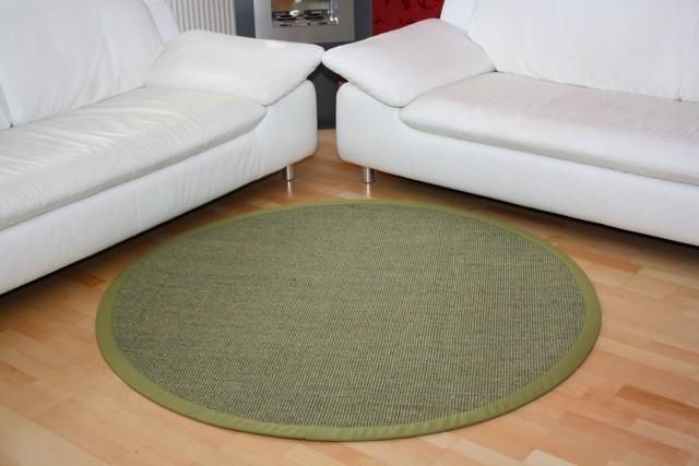 Sisalteppich Manaus Grün mit Stoffbordüre #034   350 cm rund   2. Wahl Bild 1