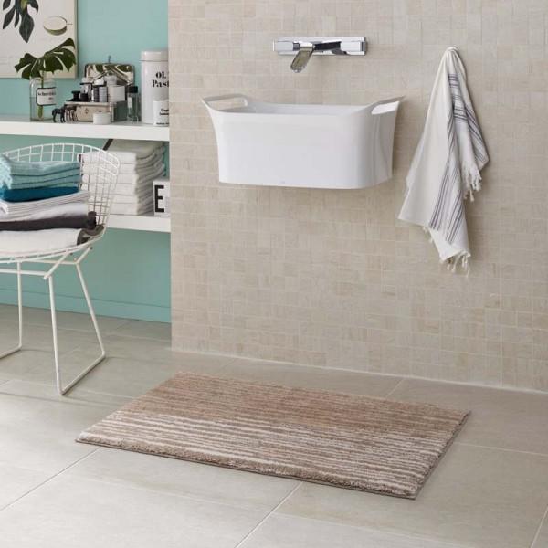 Badteppich Schöner Wohnen Mauritius Streifen Creme 001 | 70x120 cm