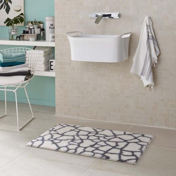 Badteppich Schöner Wohnen Mauritius Steine Weiß 000 | 60x60 cm
