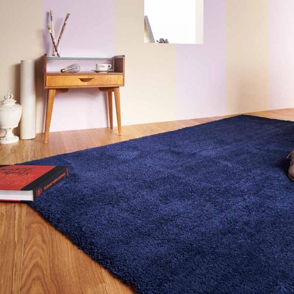 Hochflor Teppich ContzenColours 020 Indigo Blau | 90x160 cm Bild 1