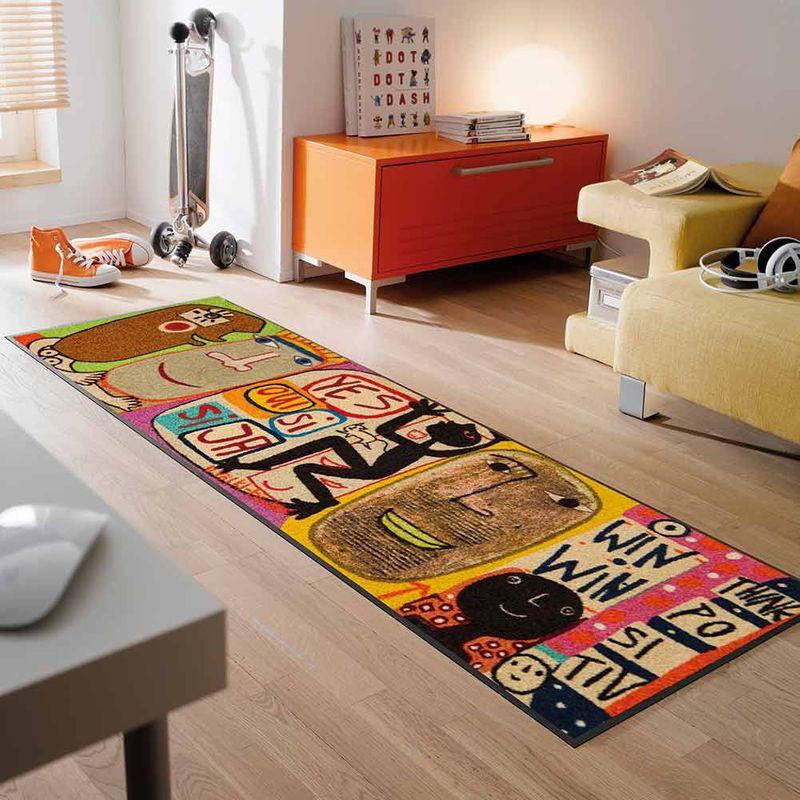 Fussmatte wash and dry Design Think Positiv 60x180 cm Designbeispiel
