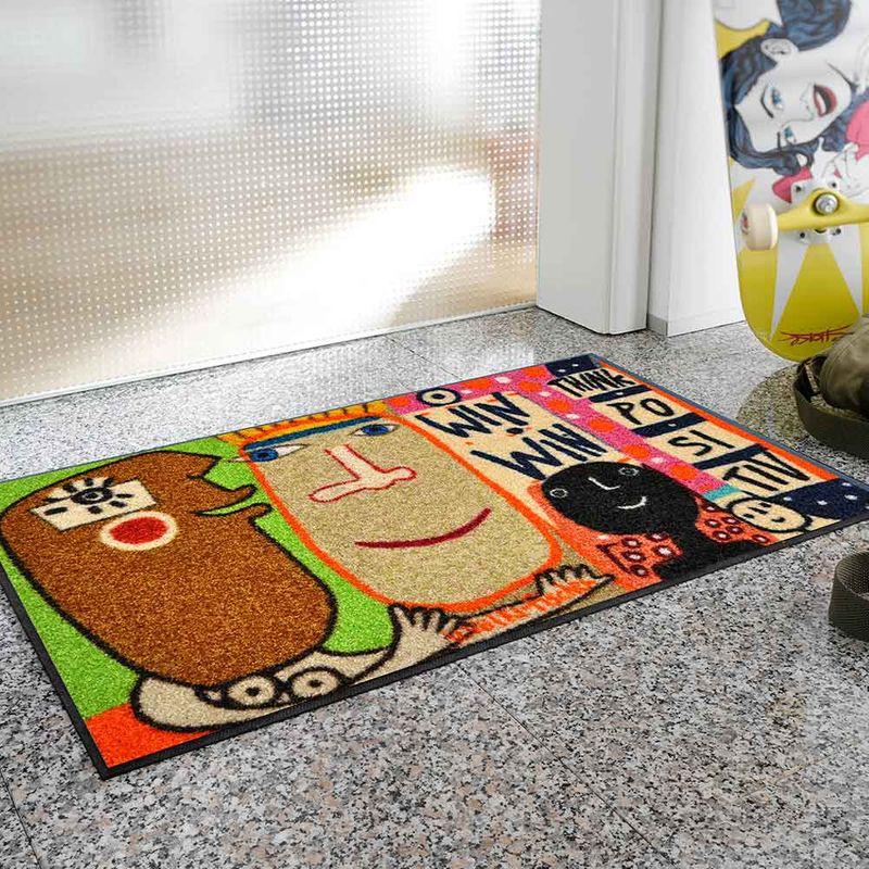 Fussmatte wash and dry Design Think Positiv 50x75 cm Designbeispiel