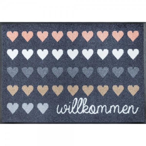 Fussmatte wash+dry Design Willkommen Herzen 50x75 cm