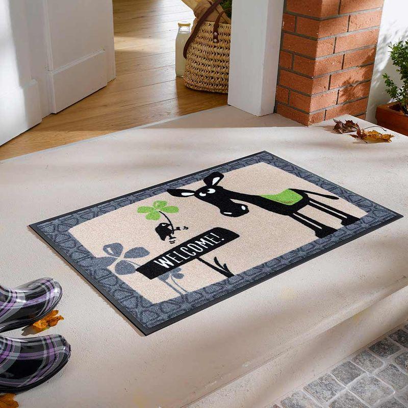 Fussmatte wash+dry Design Esel Balthasar - Welcome! Designbeispiel