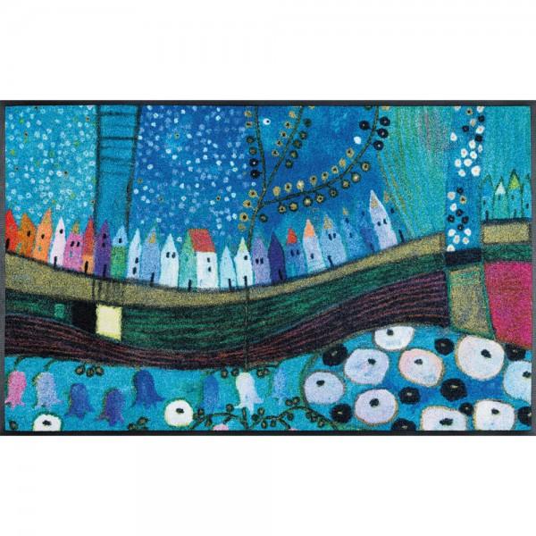 Fussmatte wash and dry Design Stadt in Blau 50x75 cm