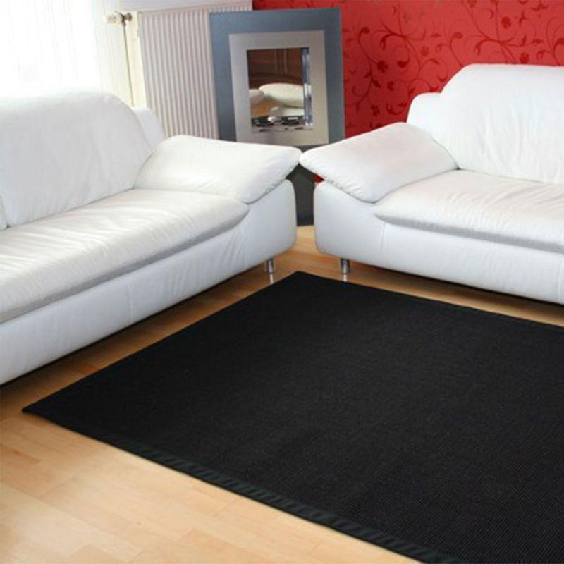 Sisalteppich mit Stoffbordüre und Fleckschutz Manaus Schwarz 44 | Wunschmaß
