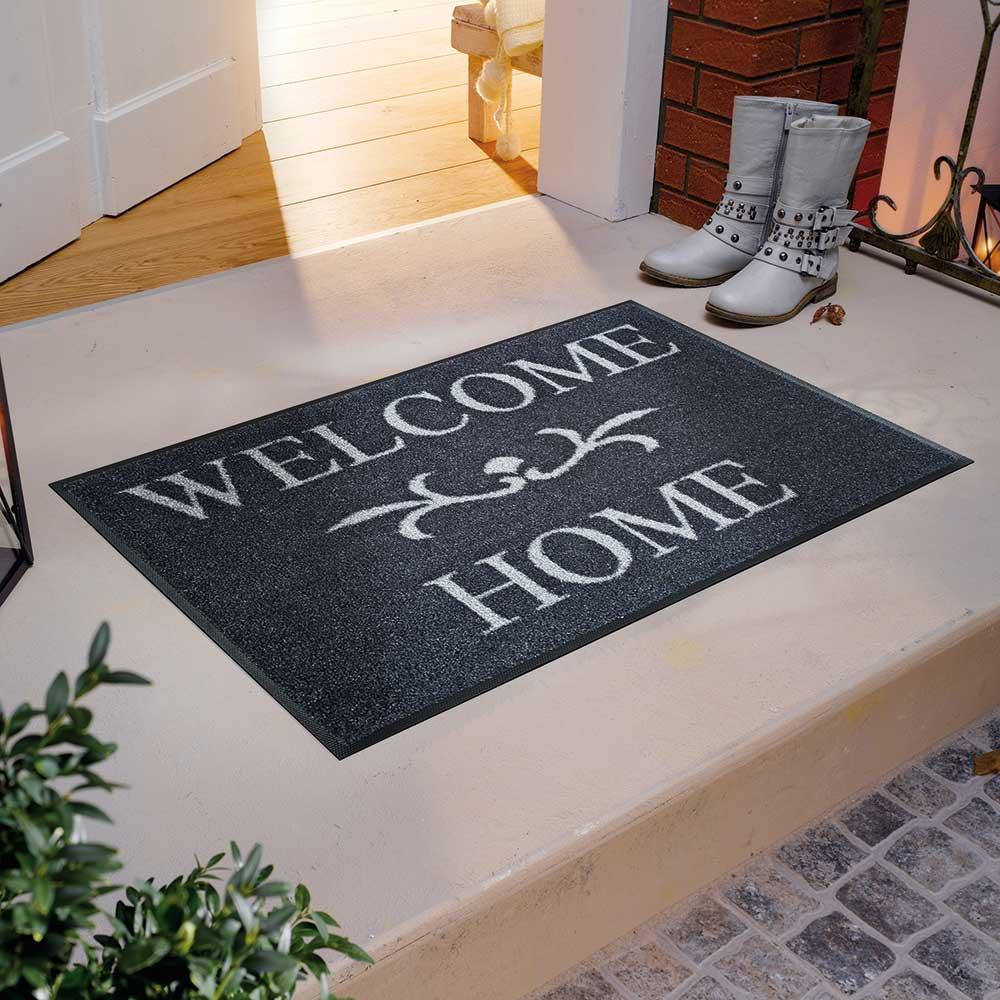 fu matte wash dry welcome home anthrazit 50x75 cm fu matten. Black Bedroom Furniture Sets. Home Design Ideas