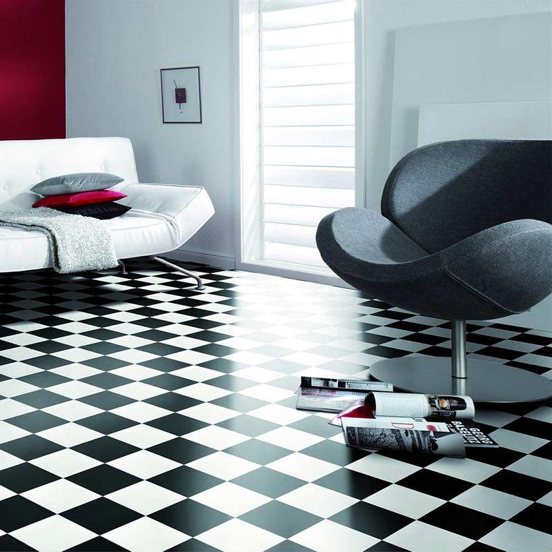 PVC Boden Gerflor Clever Schachbrett 0115 Designbeispiel