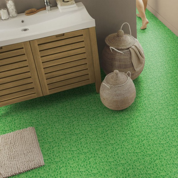Pvc vinyl bodenbelag in gras optik livingfloor for Boden fliesenoptik