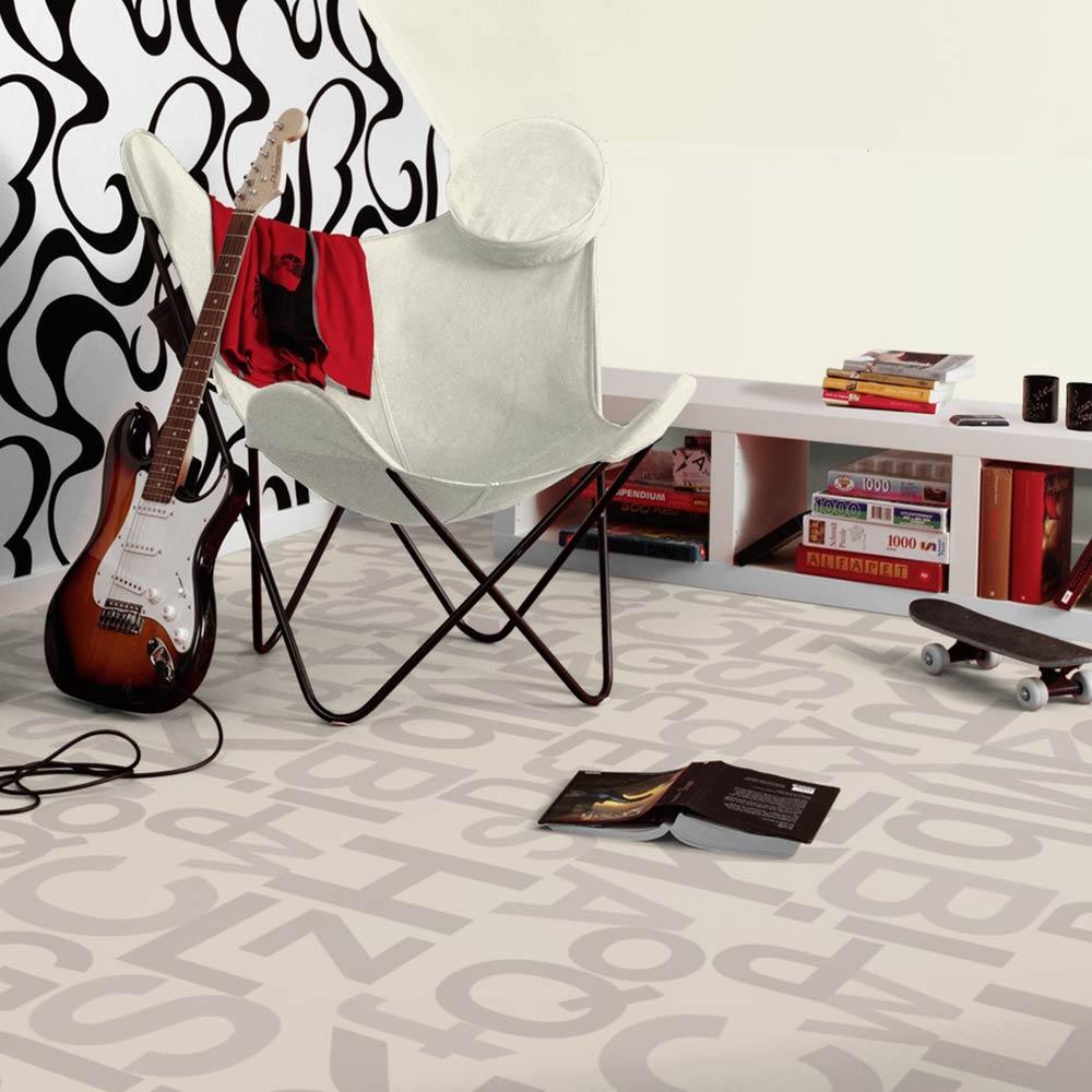 pvc bodenbelag tarkett design 260 alphabet grey 2m. Black Bedroom Furniture Sets. Home Design Ideas