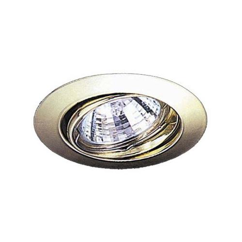 Einbauleuchte für Halogenlampe MR16 FLACH messing kippbar D:85mm