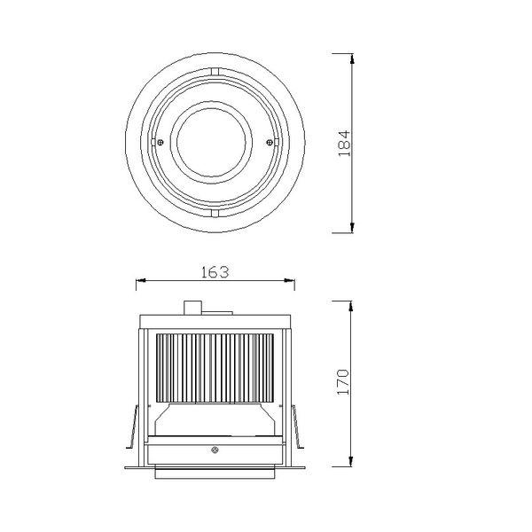 CLE Kardan Einbauleuchte Modo-Line für Fortimo DLM LED 1100-3000 Lumen alu grau – Bild 2