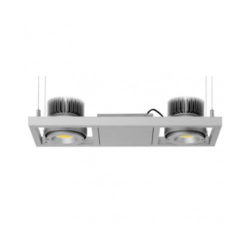 CLE Kardanische Hängeleuchte YK Webspace für 2x Fortimo DLM LED 1100-3000 Lumen silbergrau