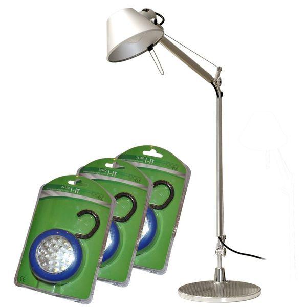 Artemide Tolomeo Tavolo Komplett mit FuSS  + 3x LED I-It Pocket Leuchte