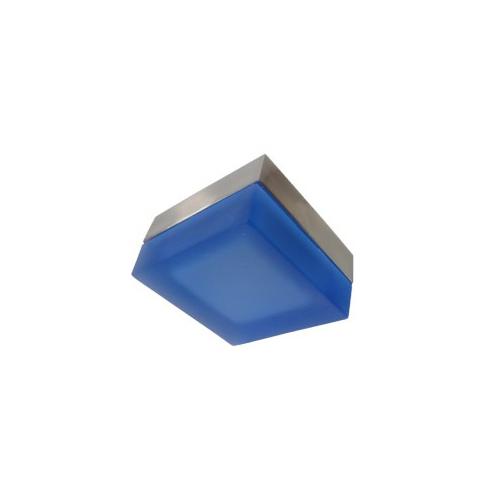 CLE Halogen Halbeinbauleuchte Eckig 20W 12V blau/nickelmatt