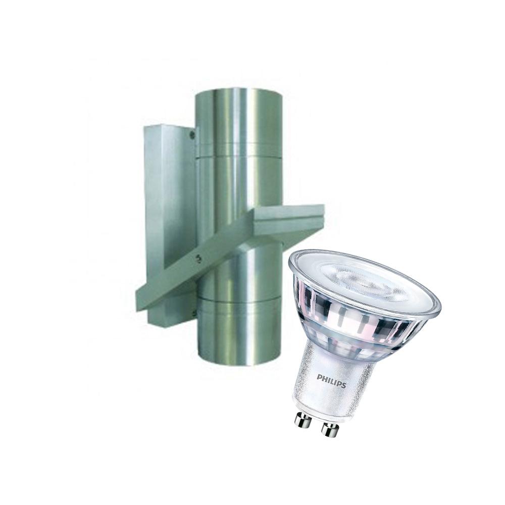CLE LED ALUTEC Aussenwandleuchte Serie BOK12 BIG 2x 5W 2700K 230V alu