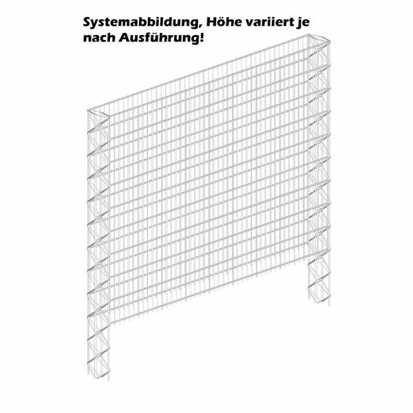 Triooo Gabione 183cm Systemwand 23cm Grundelement