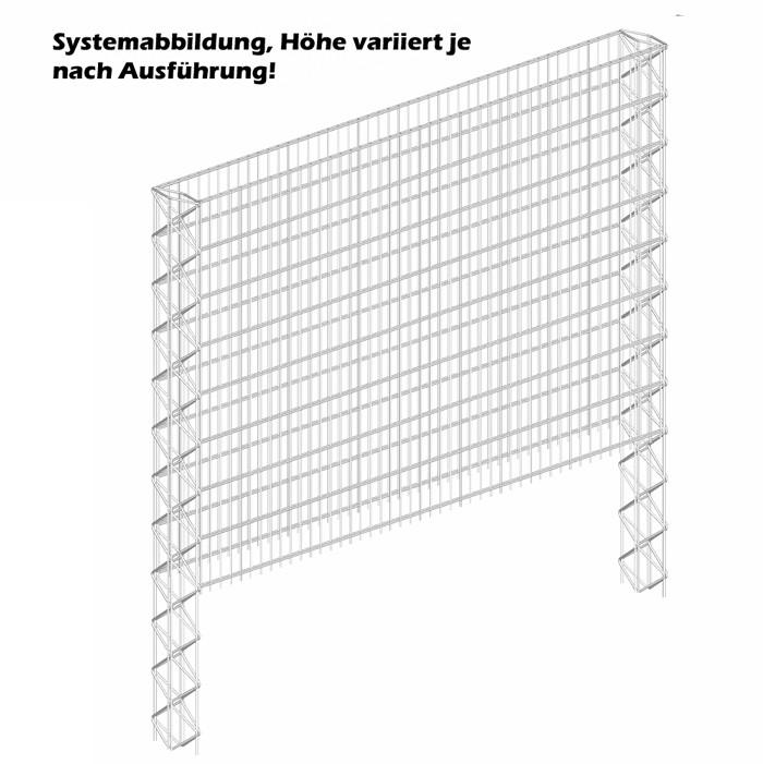 Triooo Gabione 103cm Systemzaun 5cm Masche 15,5cm Grundelement