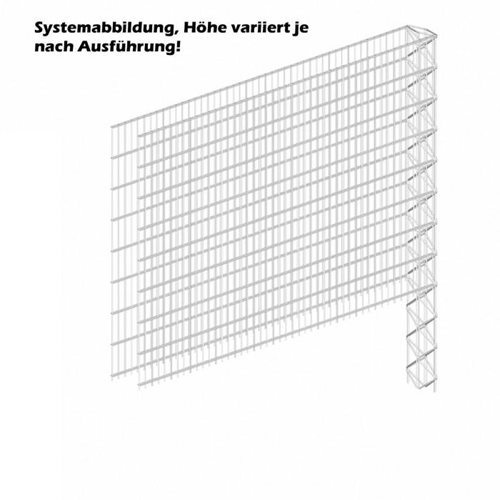 Triooo Gabione 103cm Systemzaun 2,5cm Masche 15,5cm Erweiterungselement