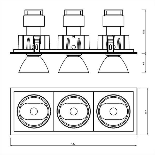 CLE Einbauleuchte POWERSTAR SLM-DM Quadro III für 3x Fortimo LED bis 5000lm weiss – Bild 3
