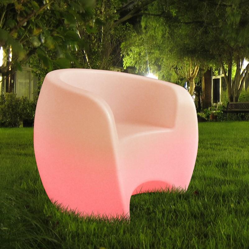 CLE RGB LED beleuchtetes Loft Sofa weiss opal matt mit Fernbedienung