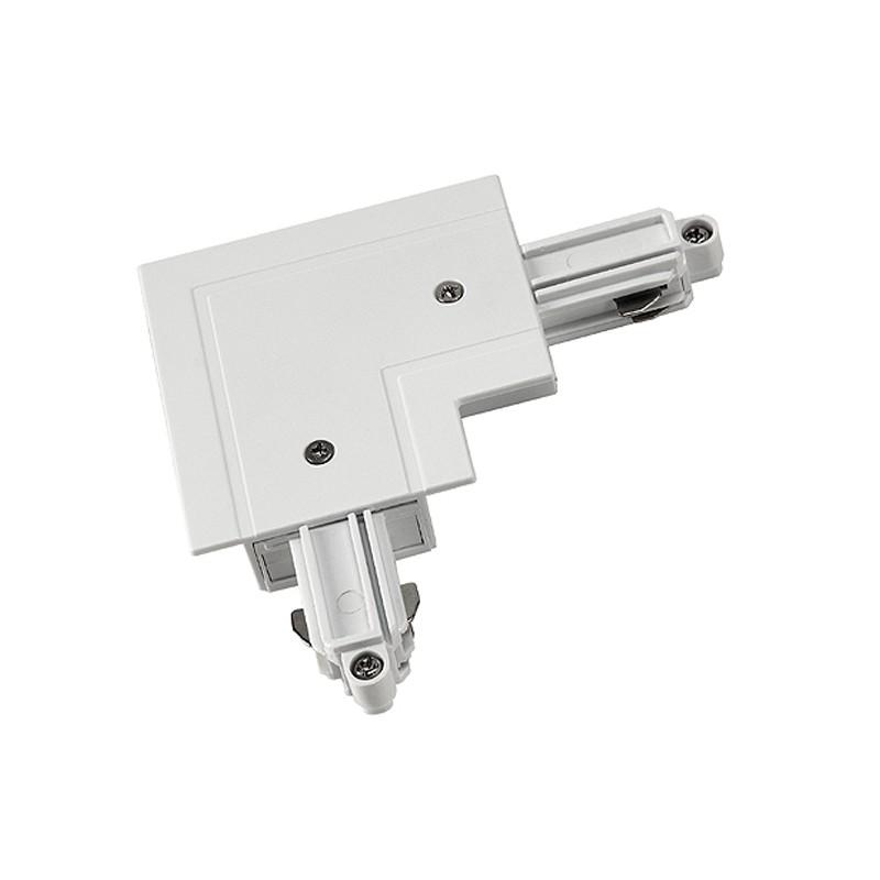 SLV Eckverbinder für 1-Phasen HV-Stromschiene, Einbauversion, Schutzleiter innen, weiss