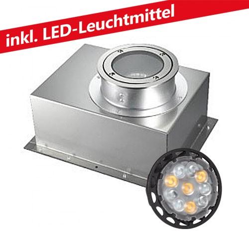 CLE LED 6W Bodeneinbauleuchte 12V MR16 YK11-Feet 2 rund alu grau /mit Eingiesstopf