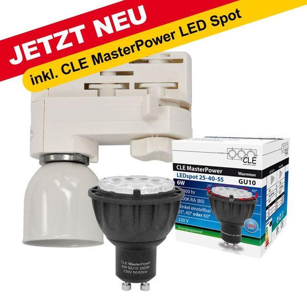 CLE Stromschienen LED Wegeleuchte 6W Master LED GU10 3000K 230V weiss