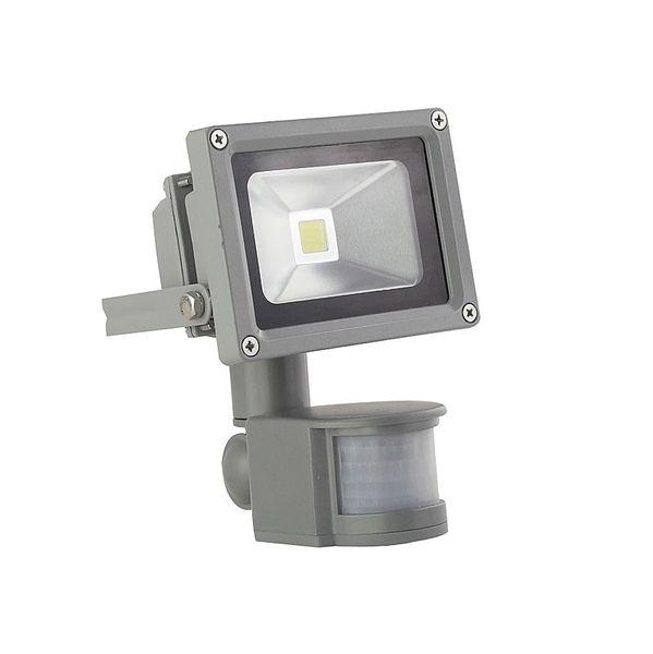 CLE LED Aussenstrahler Scheinwerfer mit Bewegungsmelder 10W 5000K neutralweiss alugrau