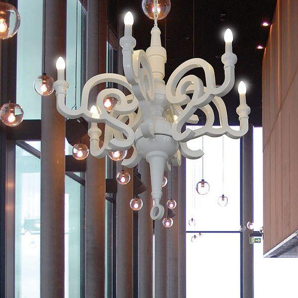 GaGa Lamp Design Kronleuchter Holz weiss glanz 6x40 W E14 Durchmesser 92cm