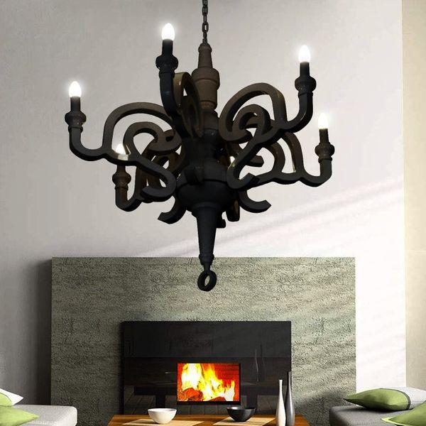 GaGa Lamp Design Kronleuchter Holz schwarz 6x40 W E14 Durchmesser 92cm