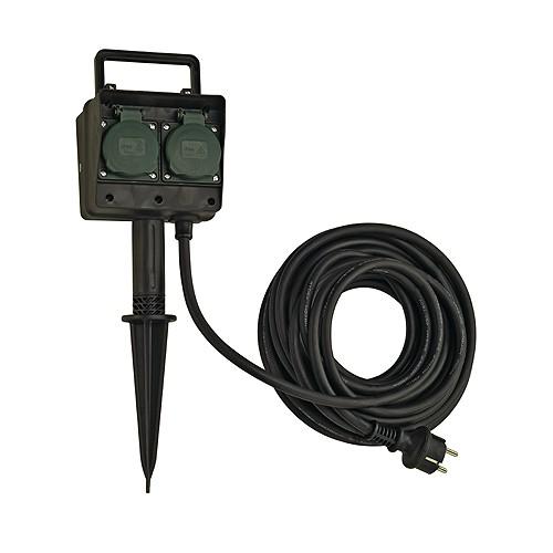 SLV 4-Fach Gartensteckdose, IP44, mit 10m Anschlussleitung und Schutzkontaktstecker