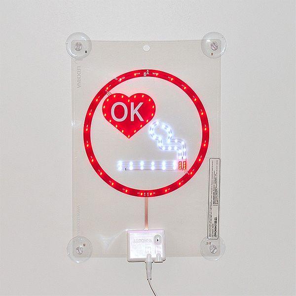 CLE LED SMOKING Transparent Cyrstal Film Display Schild 230V Fensterdisplay *A