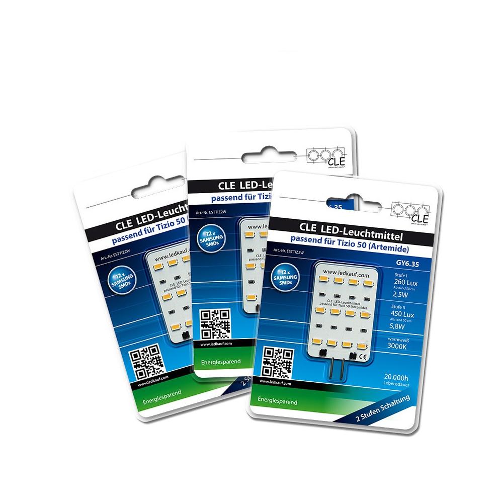 3x LED Ersatzleuchtmittel für Artemide Tizio 50 12V GY6.35 3000K 6 Watt (50 Watt)