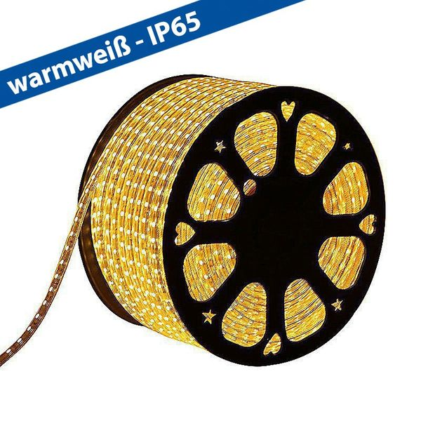 CLE LED Stripe Schlauch 50m 230V 5050 LEDs warmweiß 3000K wasserdicht superhell