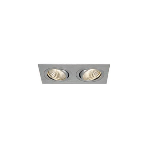 SLV NEW TRIA II LED DL SQUARE Set, alu-brushed, 2x6W, 38°, 3000K, inkl. Treiber, Clipfed.