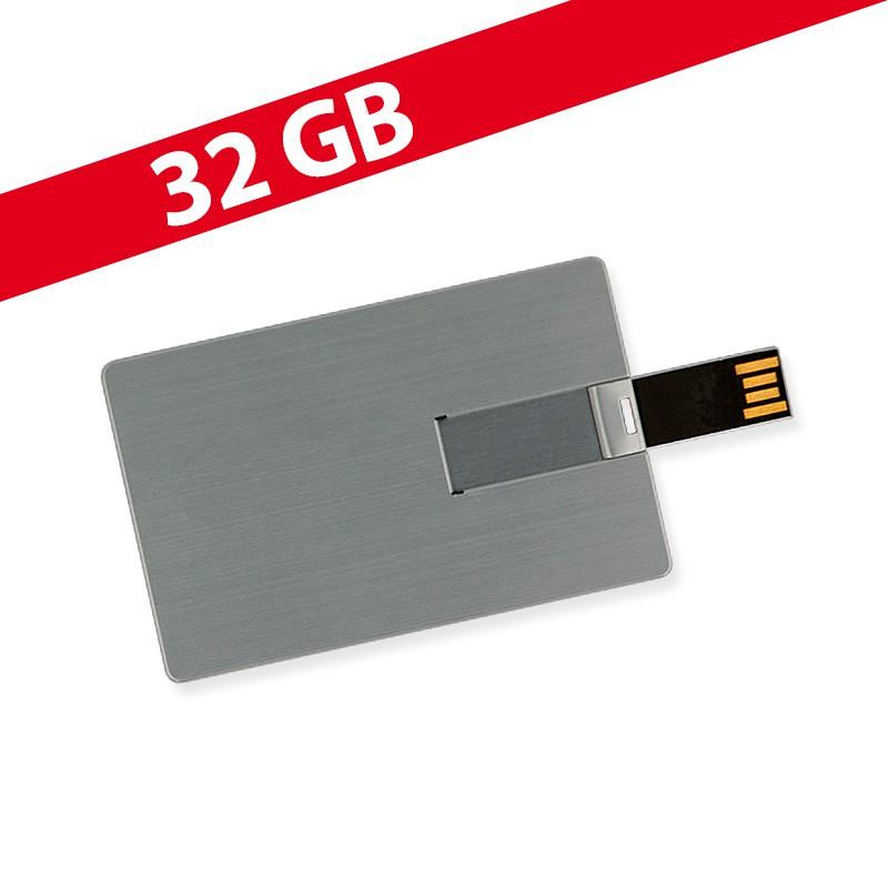32 GB Speicherkarte in Scheckkartenform Silber Metalloptik USB